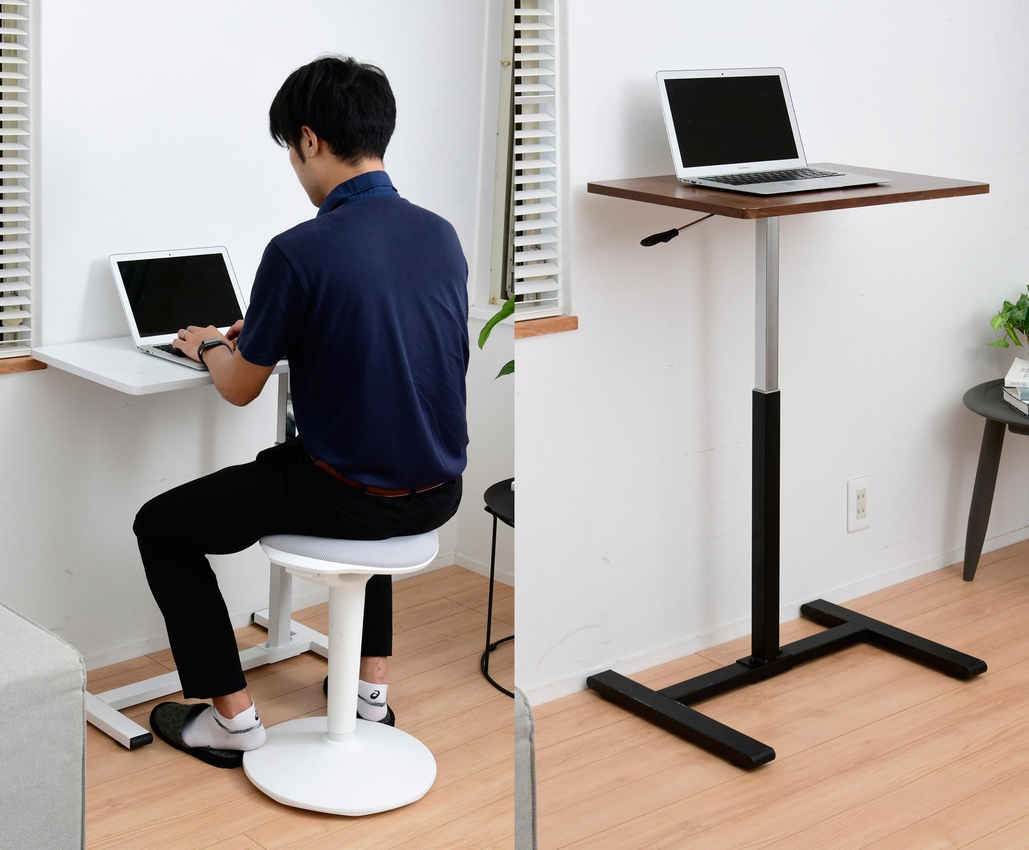 左:レバー式昇降テーブル/右:レバー式昇降パーソナルデスク